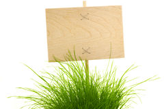 Empty wooden Sign with green Grass. Empty wooden Sign with Fresh Green Grass / isolated on white Stock Photo