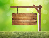 Empty wooden sign hanging Royalty Free Stock Photo