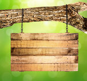 Empty wooden sign hanging Royalty Free Stock Image