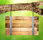 Empty wooden sign hanging Royalty Free Stock Photos