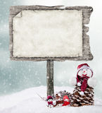 Empty wooden sign in winter mood Stock Photos