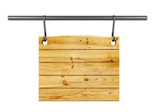 Empty wooden signboard hanging on metal bar isolated on white background Stock Photos