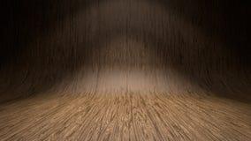 Empty wooden studio curved floor dark background