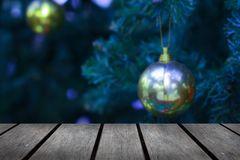 Empty wooden table against Christmas background stock photos