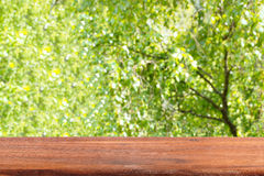 Empty wooden table on a background of green trees. Blurred background Royalty Free Stock Image