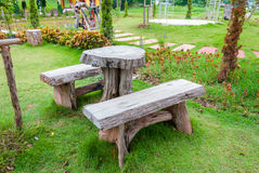 The empty wooden table and bench Royalty Free Stock Photography