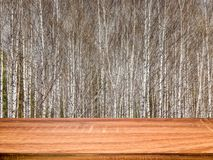 Empty wooden table with blurred spring background of birch trees. Can be used for display or montage product royalty free stock photos
