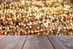 Empty wooden table of brown on front blurred colorful background, for presentation and advertising product and template. Website banner royalty free stock images