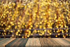 Empty wooden table of brown on front blurred colorful background, for presentation and advertising product and template. Website banner stock photo