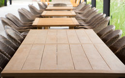Empty wooden table for a catering or food. Royalty Free Stock Images