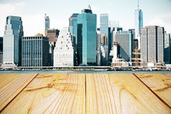 Empty wooden table, cityscape background Royalty Free Stock Image