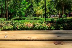 Emptry Wooden Table in Nature Stock Image