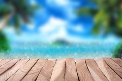 Empty wooden table. In front of sea background stock illustration