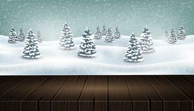 Empty wooden table in front of winter forest landscape. Christmas winter forest snowing landscape background with fir trees and empty wooden table. Vector Royalty Free Stock Images