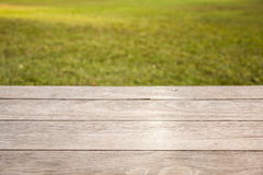 Empty wooden table on garden background stock photo
