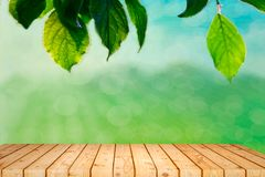 Empty wooden table with garden bokeh for a catering or food background with a country outdoor theme,Template mock up for display royalty free stock images