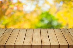 Empty wooden table over autumn nature bokeh royalty free stock photo