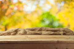 Empty wooden table over autumn nature bokeh background stock photography