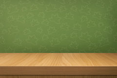 Empty wooden table over vintage wallpaper Royalty Free Stock Photo