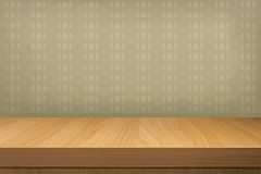 Empty Wooden Table Over Vintage Wallpaper Stock Illustration