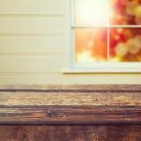 Empty wooden table over window Stock Photo