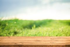 Empty wooden table for product or montage. Wooden board surface. Nature background concept royalty free stock photos