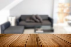 Empty wooden table and room interior decoration background, prod. Uct montage display, window background Royalty Free Stock Image
