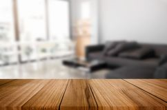 Empty wooden table and room interior decoration background, prod. Uct montage display, window background Royalty Free Stock Images