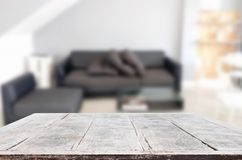 Empty wooden table and room interior decoration background, prod. Uct montage display, window background Royalty Free Stock Photo