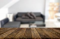 Empty wooden table and room interior decoration background, prod. Uct montage display, window background Royalty Free Stock Photos