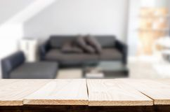 Empty wooden table and room interior decoration background, prod. Uct montage display, window background Stock Photo
