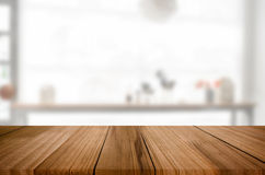 Empty wooden table and space white background, product montage d. Isplay, window background Royalty Free Stock Images