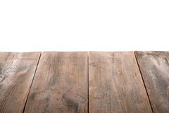 Empty wooden table surface. On white background royalty free stock photo
