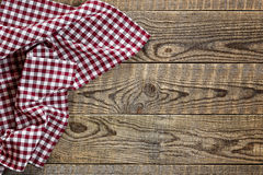 Empty wooden table with tablecloth Stock Photo