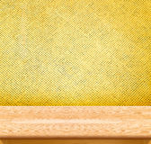 Empty Wooden Table top at golden mosaic tiles wall,Template mock Stock Photography