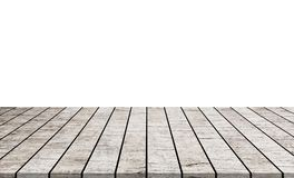 Empty wooden table top isolated on white background stock images