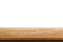 Empty wooden table top isolated on white background royalty free stock photos