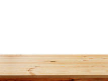 Empty wooden table top isolated on white background, used for display or montage your products. Top view mock up, perspective Royalty Free Stock Photo