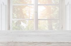 Free Empty Wooden Table Top On Blurred Background Of Vintage Window Stock Images - 111157844