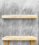 Empty Wooden Table top and shelf at concrete wall,Template mock Stock Photography