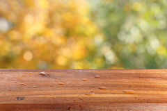 Empty wooden table with water drops against the background of autumn trees. The background is blurred Stock Images