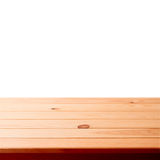 Empty wooden table on white background Stock Photos