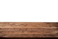Empty wooden table on white background Royalty Free Stock Photos