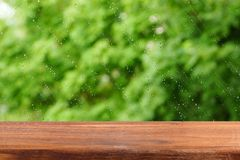 An empty wooden table by the window. Summer rain outside the window. Rain drops on the glass.  Free place for creativity. Background Stock Photos