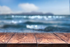 Empty Wooden Table With Sea On Background Royalty Free Stock Images