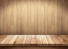 Empty wooden table on wooden background Royalty Free Stock Photos
