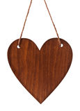 Empty wooden tablet in shape heart hanging on string isolated on white background for you design on Valentine or Mother day Royalty Free Stock Photos