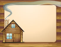 An empty wooden template with a wooden house Royalty Free Stock Images