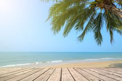 Empty wooden terrace over tropical island beach with coconut palm. At summer time Royalty Free Stock Images