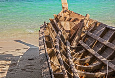 Empty wooden thailand boat Royalty Free Stock Photos